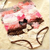 Free shipping (5 pieces/lot)Cartoon underwear Fresh cotton dot bow lace underwear ladies underwear