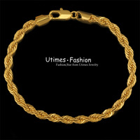 (190*7mm)New Design Men Bracelets Rope 24k GP Allergy Free