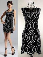 Free Shipping Wholesale evening dress, Elegant Good Quality Striped Tank Black Dress, evening dresses,Free Shipping 661