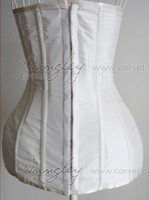 Free Shipping! Long Full Body White Underbust Corset Bustier For Waist Training