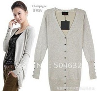 New women's knitted sweater Twinkle Cardigan shirt knitwear 3Colors:black,grey,champange  [1212]