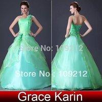 2014 New Fashion Design 1pcs/lot Grace Karin Taffeta Chiffon Designer One Shoulder Wedding Dress CL2678
