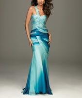 Chiffon Fabric Heavy Beading and Pleat Handwork One Shoulder Prom Dress OL102024