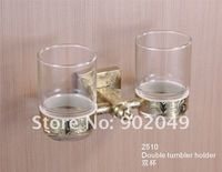 Hot Sell New  Brass Bathroom Accessories Double Tumbler Holder Free Shipping KG-2510