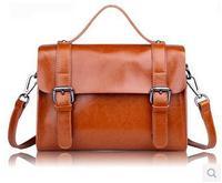 Free shipping , Genuine Leather Fashion women's brifecase,handsome shoulder/Messenger bag ,woman handbag,Zipper,dark/light brown