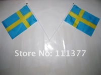 Free shipping small National flags Sweden 14*21 cm with plastic poles