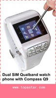 Free Shipping Q9 Watch Mobile GSM Quad band Unlocked Cell Phone Dual SIM keyboard with hidden Camera