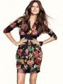 2013 New arrival Elegant flowers print waist embroidery slim chiffon print dress women Wholesale & Retail