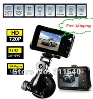 "factory Free shipping factory price T102 mini Car Driving Recorder with 2.0"" FTF screen + G-sensor + 2.0MP Car DVR Camera"