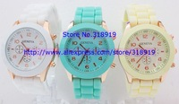 Factory sales 2013 Rose-Gold style geneva watch rubber silicone jelly candy unisex quartz wrist watches 15 colors for men women