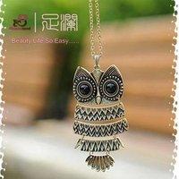 Vintage Long Colar Coruja Sweater Owl Necklaces Pendants D15R1C