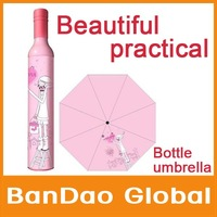 Wine Bottle Fashion Umbrella  Folding Foldable Parasol Cartoon Umbrella Beautiful and Practical Sunshade Solar portable Umbrella