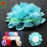 "Hot sale! (30 pieces/lot) 4.3"" chiffon fabric flower, DIY boutique baby headband girls hair clip and shoe accessories flowers"