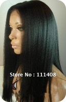 "8""-24"" All Length Stocks 100% Human Hair Indian Remy Full Lace Wigs baby hair Loose YAKI Straight #1B HOT!"