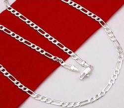 N102 Men&#39;s Sterling Silver 925 Figaro Chain Necklace 4mm 16&quot;---30&quot; Wholesale Fashion Cheap 925 Sterling Silver Jewelry(China (Mainland))