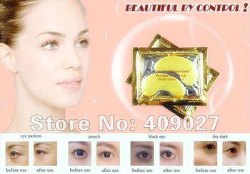 60 Pairs Crystal Collagen Gold Powder  Zymogen Deep Moisture Anti Wrinkle bag Gold Eye Mask