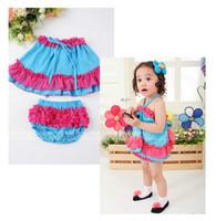 4sets/lot Baby girls clothing set (Bowknot Gallus dress+Ruffles underwear) ,cute baby&kids summer cool suits set