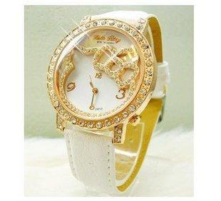Hello kitty Wholesale Girl women wristwatches ladies rhinestone  fashion leather strap quartz watch Women  watches  KT5