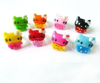 100Ps/lot promotion Free shipping colorful Acrylic crystal resizable lovely hello kitty Rings baby finger ring fashion jewellery