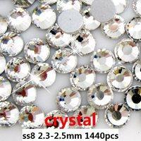 Free shipping rhinestones for nails1440pcs ss8 2.3-2.5mm Crystal flat back non hotfix glue on rhinestones