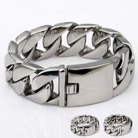 316L Stainless Steel Huge Heavy Curb Chain Bracelet Wholesale Promotion Mens Boys Chain Bracelet Gift HBM24 (Width 24mm/31mm)