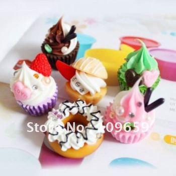 Free shipping 10pcs /lot ,Cakes hard mobile phone pendant Strap/Mobile Phone Charm (Random mixed! )Wholesale CY-01-007