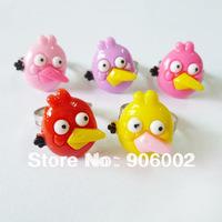 yh free shipping  Wholesale mixed  50pcs/lot lovely  bird adjustable resin children kids cartoon rings