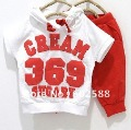 HOT Baby suit s girls boys cream 369 short sleeve hoodies pants 2pcs clothing set childrens yellow red summer clothes In stock