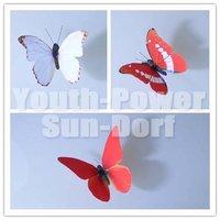 12x Modern 3D Wall Sticker Vivid Butterfly Home Decor Art Decorations Cute Lifelike Butterflies fridge Magnet Stickers Red-Serie