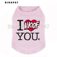 "Wholesale 12pcs/lot ""I Woof You"" Printed Pet Dog T Shirt Summer Puppy Dress Free Shipping"