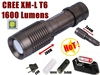 Smiling Shark SS-E7 CREE XM-L T6 High Power 1600Lumens Flashlight Zoom Adjustable Torch (3 * AAA / 1 * 18650)+ Battery /charger