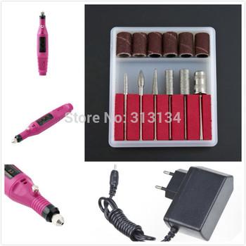1 PCS Tool+6 Bits wholesale Pen Shape Electric Nail Drill Machine Art Salon Manicure File Polish