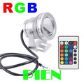 10W RGB Underwater LED Flood Light Swimming Pool Outdoor Waterproof Round Spot Lamp DC 12V Convex Lens Free Shipping 1pcs/lot