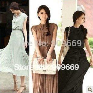 Black/coffee/grey M L XL big size maxi pleated dress long plus size bohemian dress women 2015