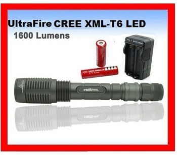 7-Mode 1600 Lumens CREE XM-L T6 LED Flashlight Zoomable/Adjustable Focus Led Torch+ 2 * Rechargeable Battery+Wall Charger