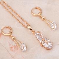Lovely 18k k gold plated Zircon White Crystal women Jewelry sets Necklace Earrings Fashion jewelry JS085