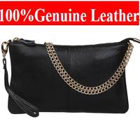 Free Shipping 2014 fashion Clutch   Genuine Leather Messenger BAG Classic simple shoulder bag  women leather Handbags HHL926