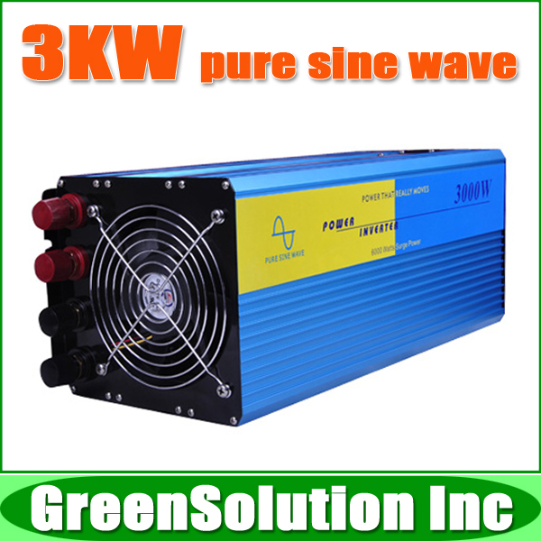 Free Shipping, 3000W Off Grid Tie Inverter DC12V/24V/48V Pure Sine Wave Inverter for Wind Turbine/Solar System, 6000W Peak Power(China (Mainland))
