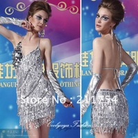 2013 Lady Cocktail Club Wear Party Latin Dance Asymmetric Sequin Fringe Sexy City Dress 2051