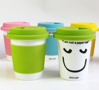 High Quality Ceramic Mug Cup,Office Water Cup,Double-Wall PP Covering Mug (I am not a paper cup) Free shipping