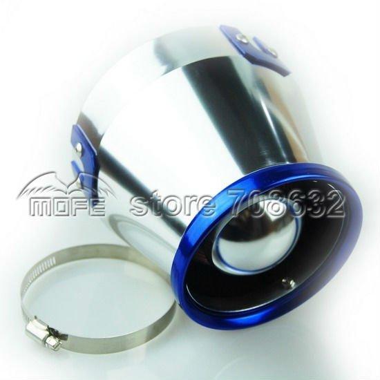 "Universal Aluminum 76mm 3"" Auto HEPA Air Filter Intake Blue & Silver(China (Mainland))"