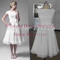 C Simple Elegant Engagement Country Style Ivory Chiffon Vintage Short Wedding Dress 2015 New Formal Dress Party Evening Elegant