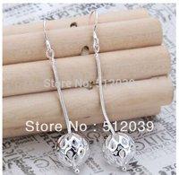 Lose Money Promotion! Wholesale 925 Silver Earrings, 925 Silver Fashion Jewelry, Long Solid Ball Dangle Satin Silver Earrings