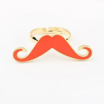 2014 New Fashion Jewelry Unique Orange Moustache Single Loop Finger Ring