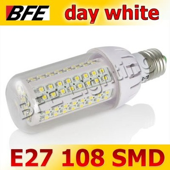 4pcs/Lot E27 108 SMD LED 6W Cold White Corn Light Bulbs Bright Hot Wholesale