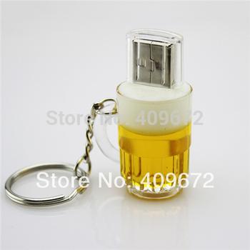 Retail genuine 2G/4G/8G/16G/32G keychain cup shape draft beer pen drive usb flash drive usb stick Drop Free shipping