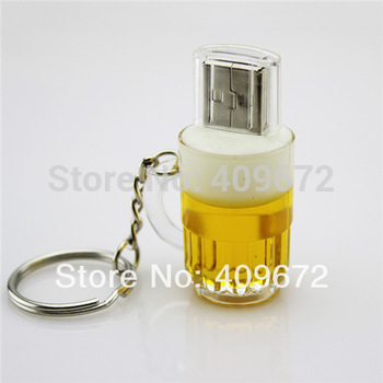Retail genuine 2G/4G/8G/16G/32G keychain draft beer cup shape pen drive usb flash drives memory stick u disk Drop Free shipping