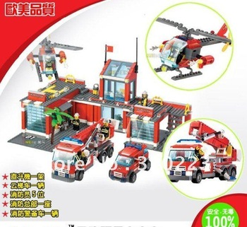 Free Shipping Enlighten Child 8051 DIY Educational Fire Theme Building Car Compatible With Ligao Assembles Particles Block Toys
