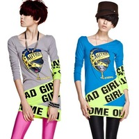 Letters long sleeve cultivate neon print women long tee dress 2013 /Free shipping/ FZ0553
