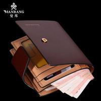 2014 brand cowskin leather wallet Popular Men wallet Genuine leather wallet luxury wallet leather bag free shipping MBQ6341BZ